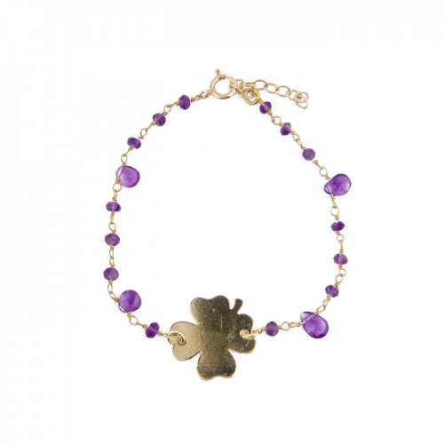 Yellow plated sterling silver rosary bracelet with amethyst beads and lucky charm.