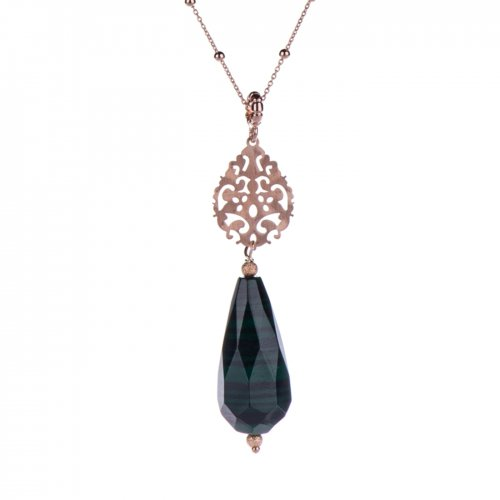 Rose gold plated sterling silver necklace with malachite teardrop.