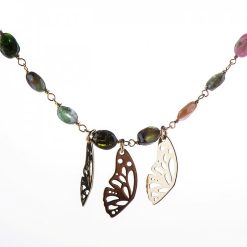 Yellow gold plated sterling silver rosary-necklace with tourmaline beads.