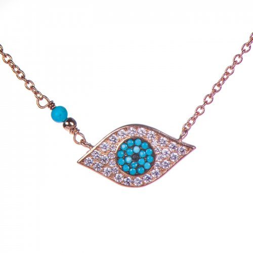 Rose goldplated  sterling silver necklace with evil eye.