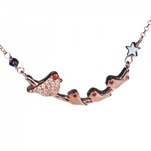 Rose gold plated sterling silver necklace with ''birds'' charm.