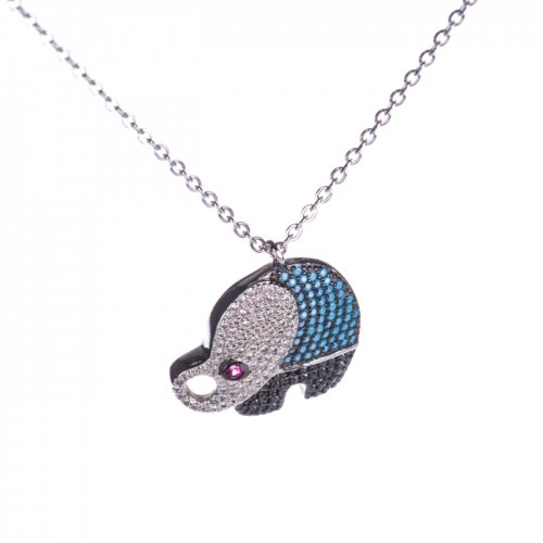 Sterling silver necklace with elephant charm with cubic zirconia.