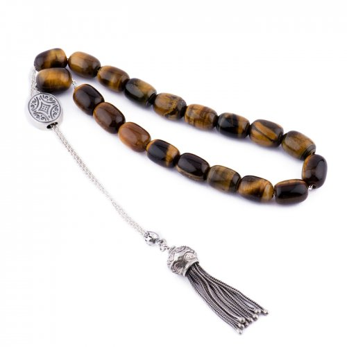 Sterling silver kompolois with tigers eye  beads.