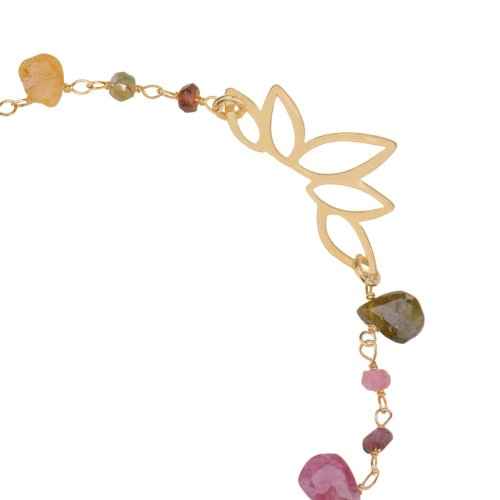 Yellow gold plated sterling silver bracelet with tourmaline beads.