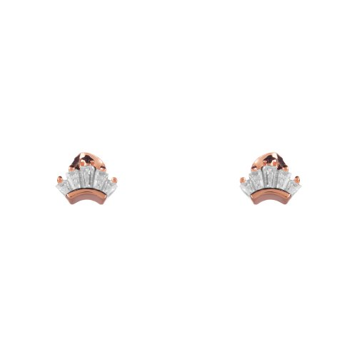 Rose gold plated sterling silver crown earings.