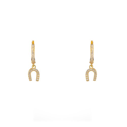 Yellow gold plated sterling silver earings with white cubic zirconia.