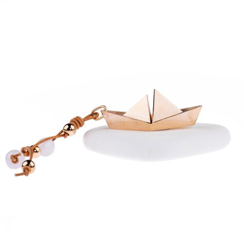 Lucky charm 2021 with gold plated metal boat.